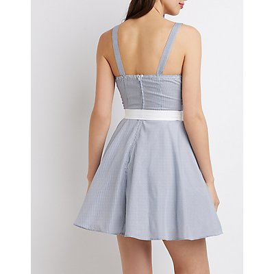 Stripe Eyelet Detailed Skater Dress