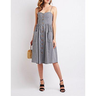 Gingham Button-Up Midi Dress