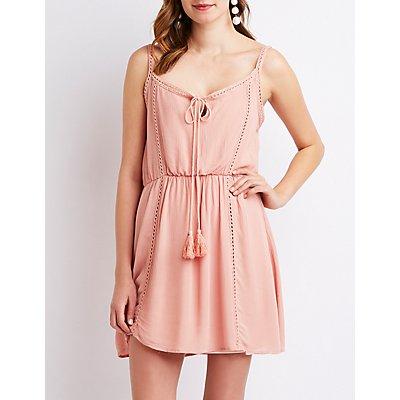 Crochet Inset Tie Front Dress