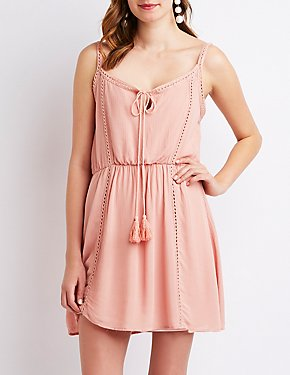 Crochet-Inset Tie-Front Dress