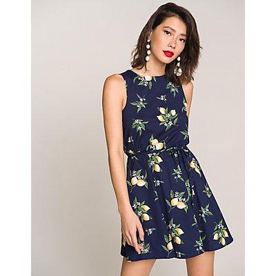 Lemon Print Skater Dress