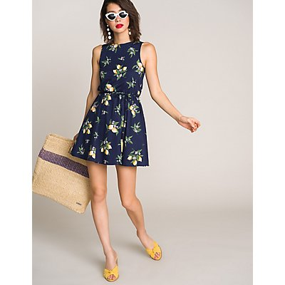 Lemon Print Skater Dress