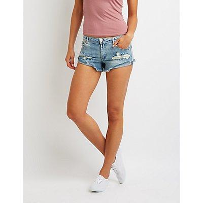 Destroyed Denim Cut-Off Shorts