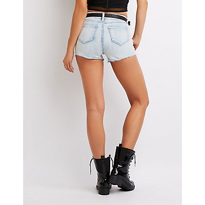 Belted Mid Rise Denim Shorts