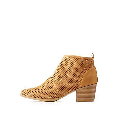Qupid Perforated Chelsea Booties