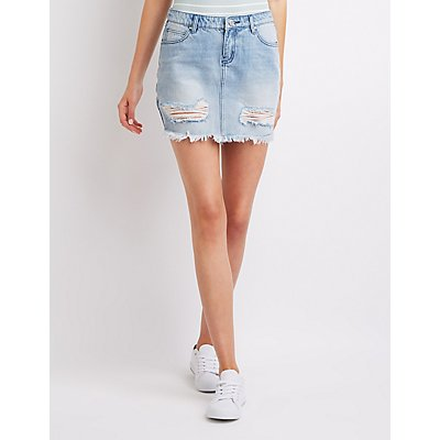 Refuge Destroyed Denim Mini Skirt