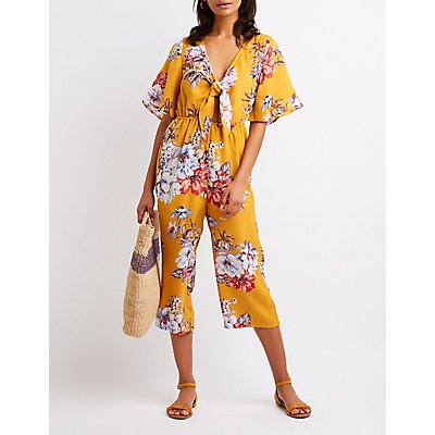 Floral Tie Front Jumpsuit
