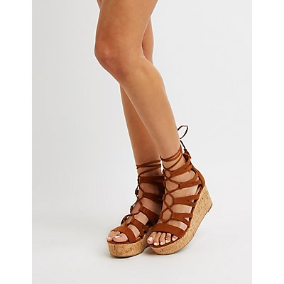 Lace Up Cork Wedges by Charlotte Russe