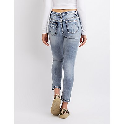 Machine Jeans Destroyed Mid Rise Skinny Jeans