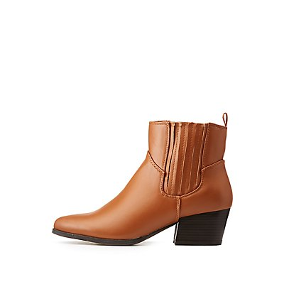 Faux Leather Gored Ankle Booties