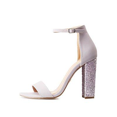 Ankle Strap Glitter Block Sandals