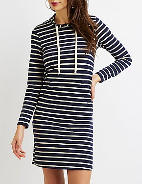 Striped Drawstring Hoodie Sweatshirt Dress