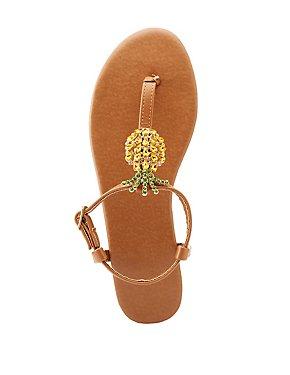 Pineapple T-Strap Sandals
