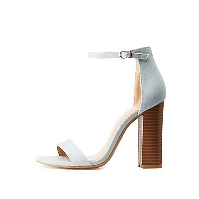 Chambray Ankle Strap Sandals