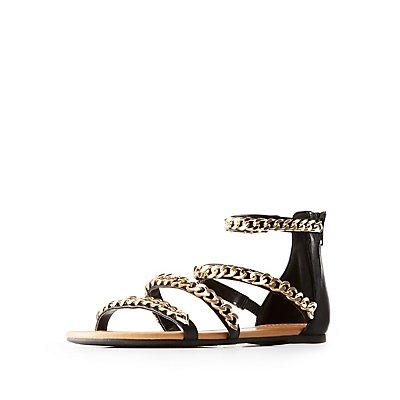 Chain Trim Flat Sandals