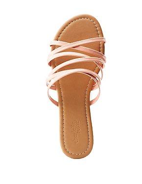 Patent Criss Cross Slide Sandals