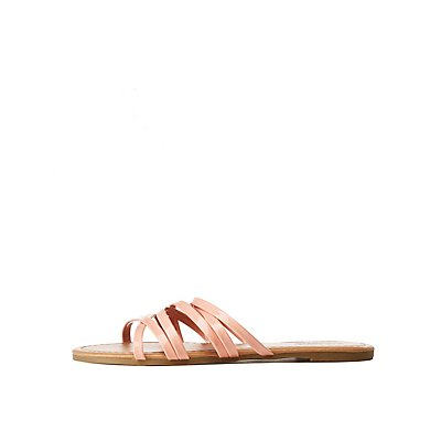 Patent Criss Cross Slide Sandals