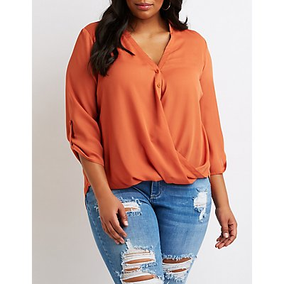 Plus Size Faux Wrap Button-Up Top