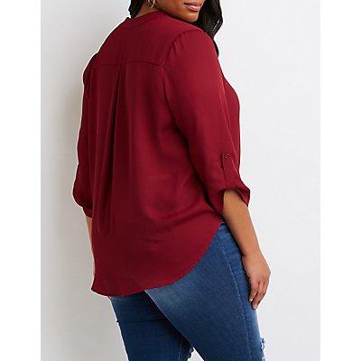 Plus Size Faux Wrap Button-Up Top