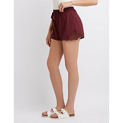 Crochet-Trim Drawstring Shorts