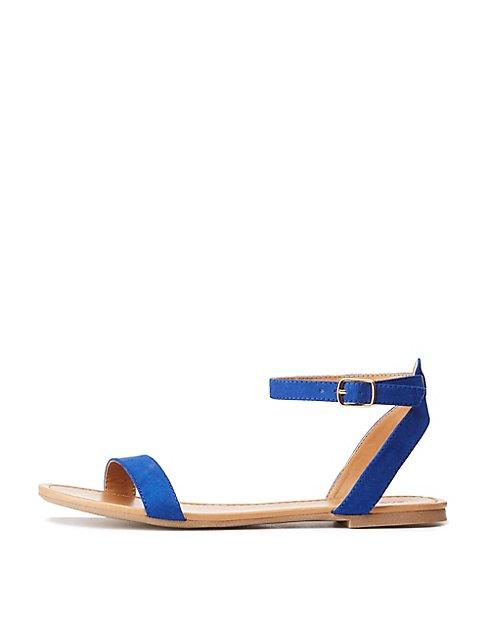 dca34ea2975 Faux Suede Ankle Strap Flat Sandals ...