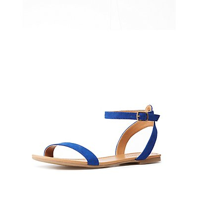 Faux Suede Ankle Strap Flat Sandals