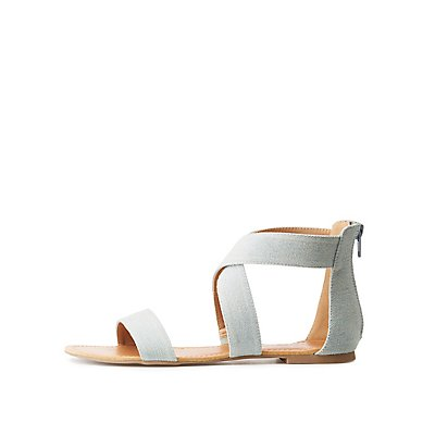 Chambray Crossed Ankle Wrap Sandals by Charlotte Russe