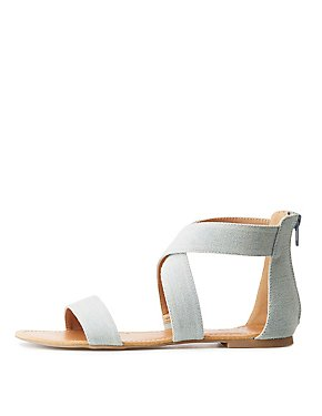 Chambray Crossed Ankle Wrap Sandals