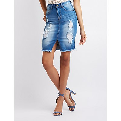 Machine Destroyed Denim Mini Skirt