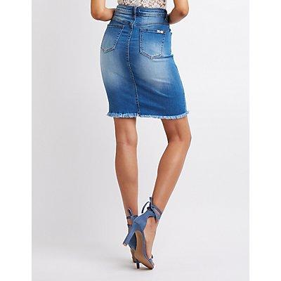 Machine Destroyed Denim Mini Skirt