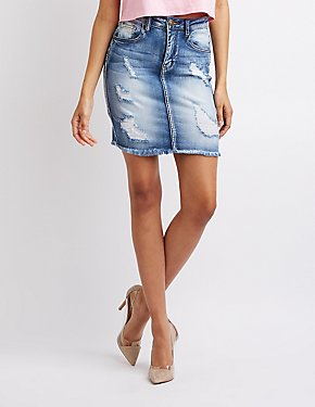 Machine Jeans Destroyed Denim Pencil Skirt
