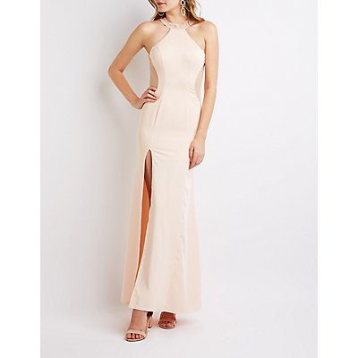 Embellished Mesh-Inset Maxi Dress