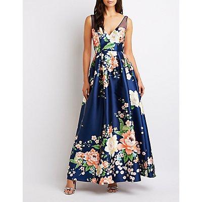 Mesh-Trim Floral Maxi Dress