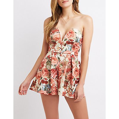 Floral Strapless Wired Notched Romper