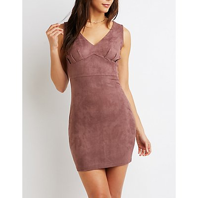 Faux Suede V-Neck Bodycon Dress