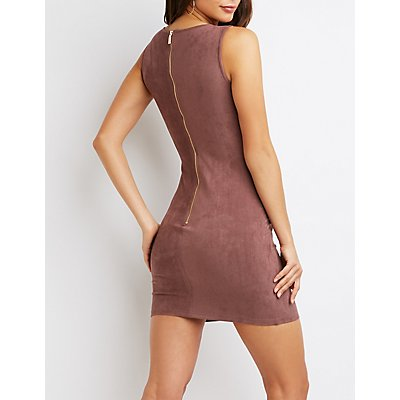 Faux Suede V-Neck Bodycon Dress