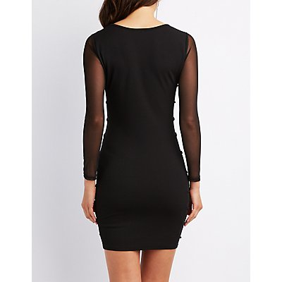 Mesh Panel Bodycon Dress