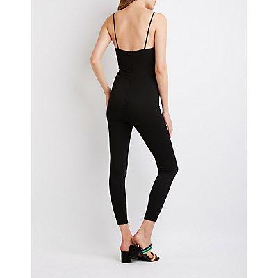 V-Neck Skinny Leg Jumpsuit