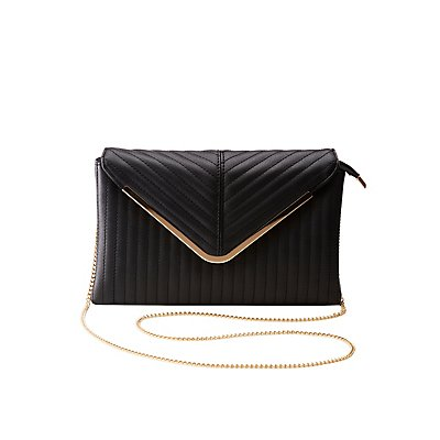 Faux Leather Quilted Flap Clutch