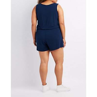 Plus Size Zipper Front Romper