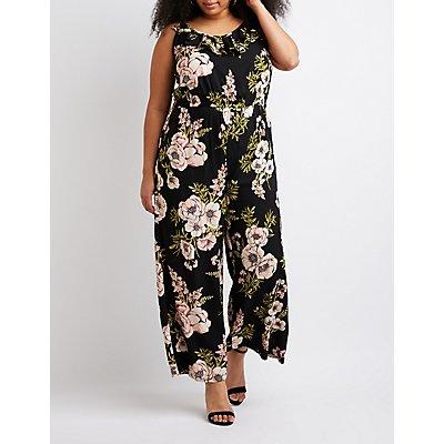 Plus Size Ruffle Floral Print Jumpsuit