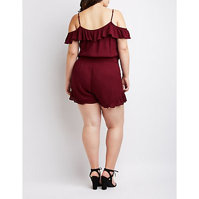 Plus Size Cold Shoulder Ruffle Romper