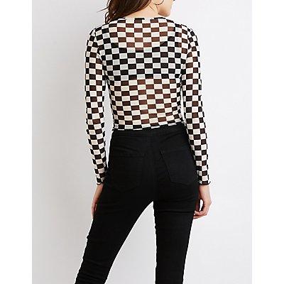 Checkered Print Mesh Top