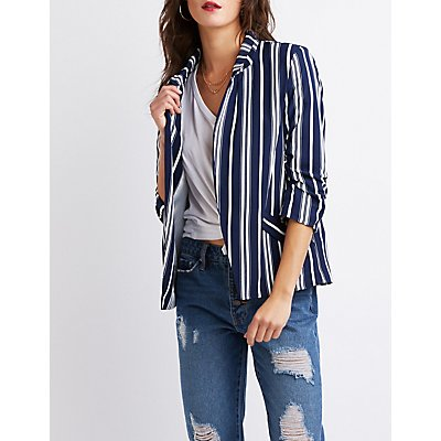 Striped Open-Front Blazer