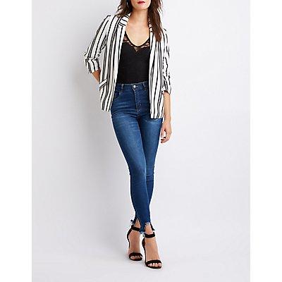 Striped Open-Front Blazer