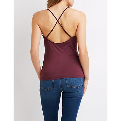 Strappy-Back Scoop Neck Cami