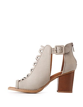 Buckle Cut-Out Peep Toe Sandals