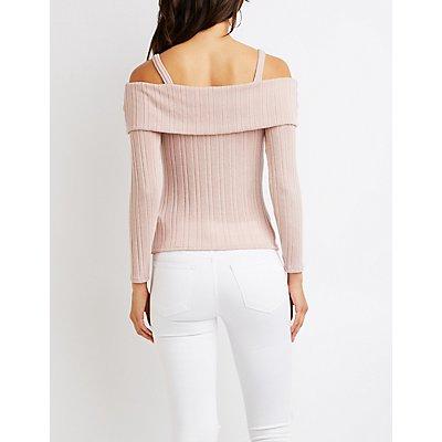 Ribbed Knit Cold Shoulder Top
