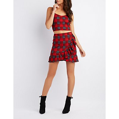 Plaid Ruffle-Trim Mini Skirt