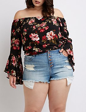 Plus Size Refuge Destroyed Cheeky Denim Shorts